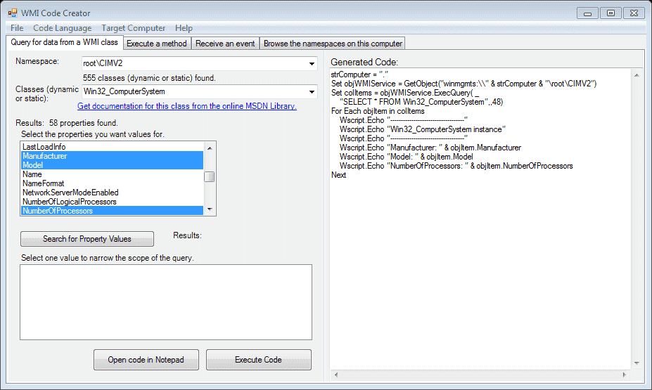 FREE: WMI Code creator – Generate VBScript, C#, and VB NET