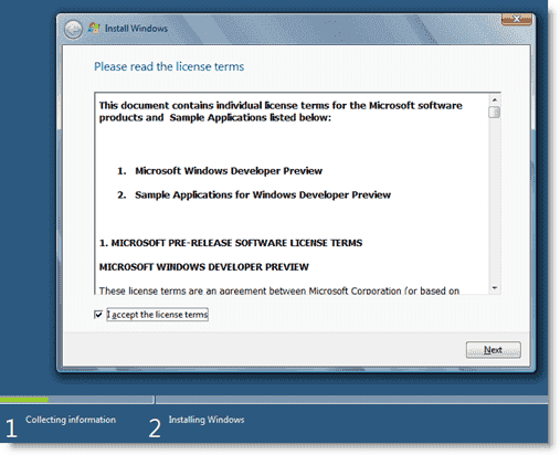Install Windows 8 - Accepting the Windows 8 licensing terms