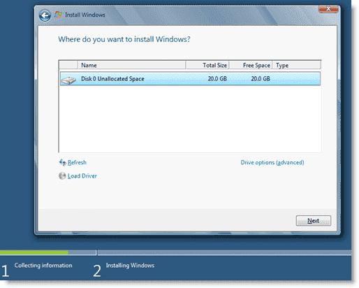 Install Windows 8 - Choosing an installation location