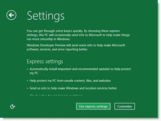 Install Windows 8 - Choosing update preferences