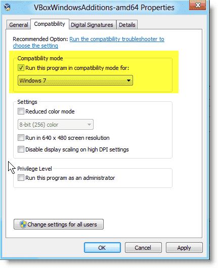 Install Windows 8 - Configuring Windows 7 compatibility mode