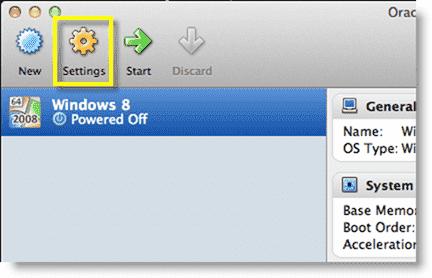 Install Windows 8 - Configuring the VM settings