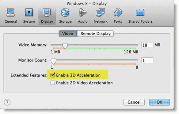 Install Windows 8 - Enabling 3D acceleration