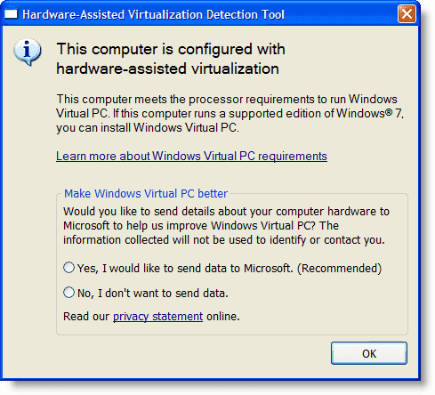 Install Windows 8 - Microsoft Hardware-Assisted Virtualization Detection Tool