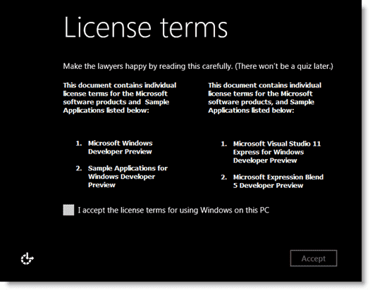 Install Windows 8 - The user-friendly license term text