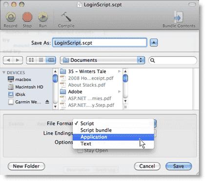 Mac login scripts in Active Directory  - Saving an AppleScript as an application