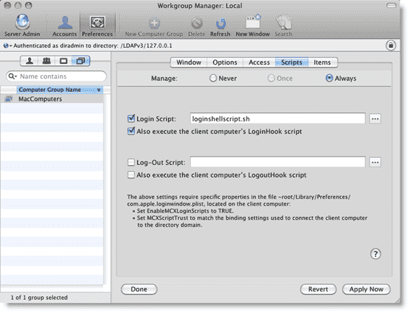 Open Directory Mac OS X -Binding a login script to managed clients