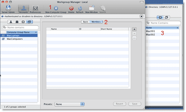 Open Directory Mac OS X -Creating a computer group