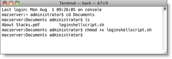 Open Directory Mac OS X - Making a shell script executable