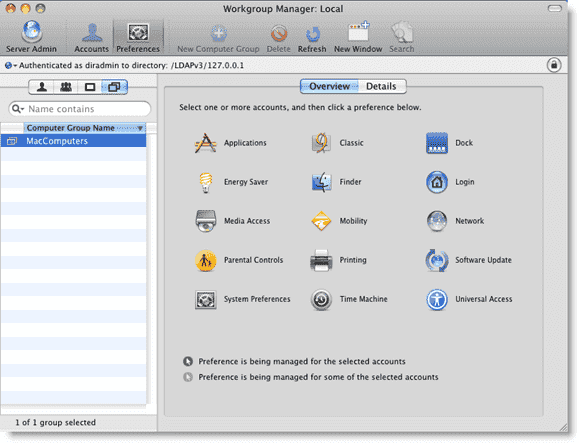 Open Directory Mac OS X - Managed preferences in Workgroup Manager