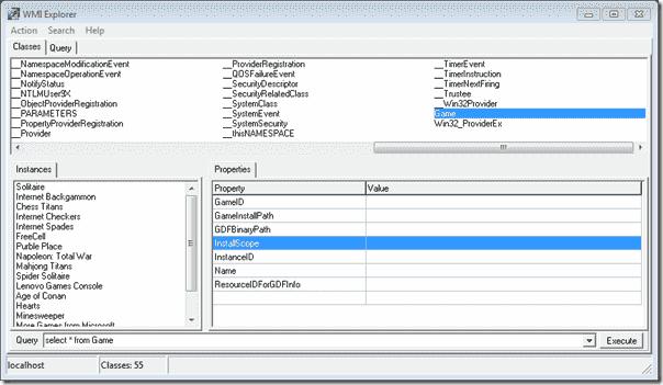 WMI Explorer - Browsing a WMI class