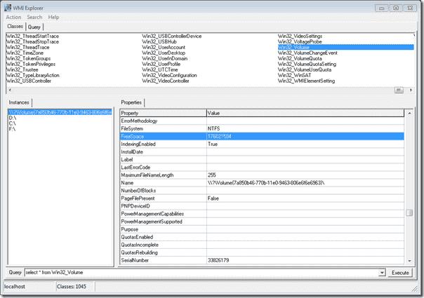 WMI Explorer - The Win32_Volume class, Vista or later