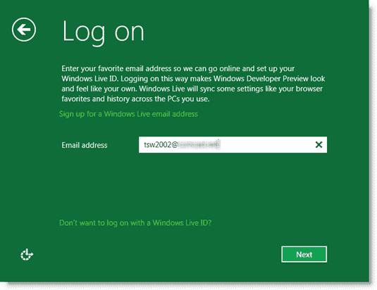Windows 8 - Creating a logon account
