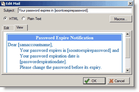 Account and Password expiration - HTML view