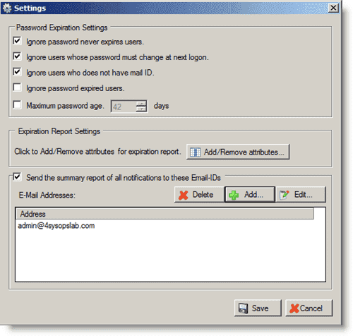 Account and Password expiration - JiPEN Settings dialog