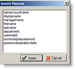 Account and password expiration - Inserting a macro in the notification e-mail