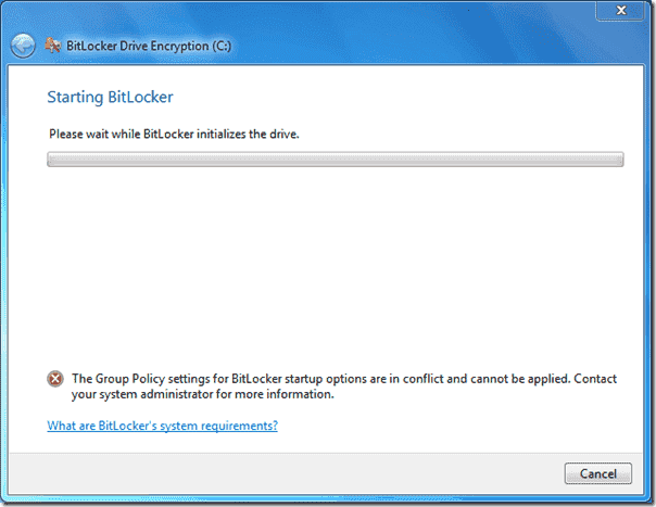 BitLocker Error - Group Policy settings for BitLocker startup options are in conflict and cannot be applied