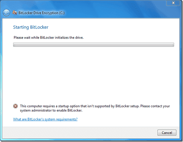 BitLocker error - Startup option that isn't supported by BitLocker setup