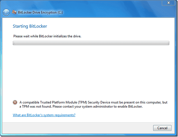BitLocker error message - A TPM was not found