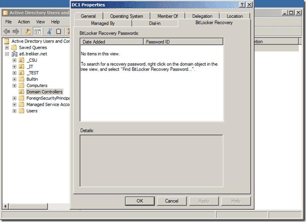 Bitlocker Active Directory - ADUC Comp Properties with BitLocker Tab