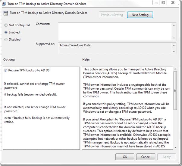 Bitlocker Active Directory - Backup TPM Owner Info