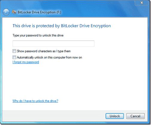 Bitlocker Active Directory - BitLocker Encrypted Removable Drive - Window 7 Professional