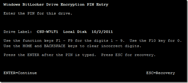 Bitlocker Active Directory - Enter the PIN for the drive