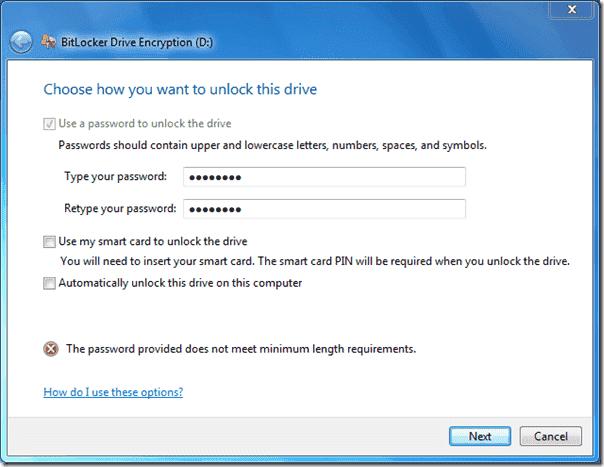 Bitlocker Active Directory - Minimum password length required
