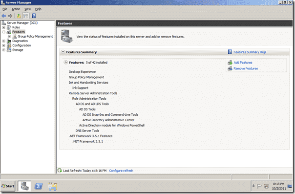 Bitlocker Active Directory - Server Manager Add Feature