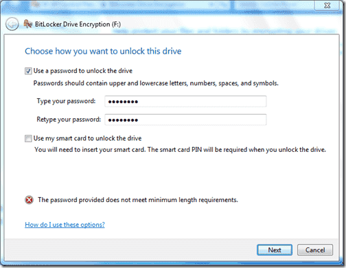 Bitlocker Active Directory - The password provided does not meet minimum length requirements