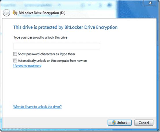 Bitlocker Active Directory - Type your password to unlock drive