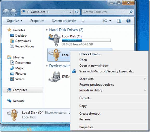 Bitlocker Active Directory - Unlock drive