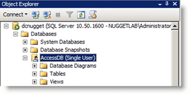 Database in single-user mode