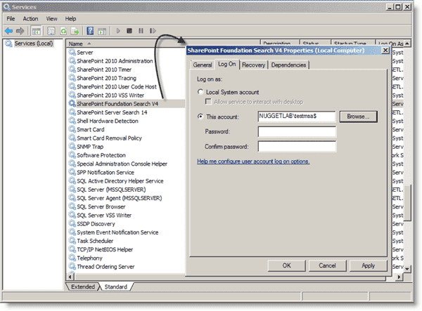 Managed Service Accounts - Assigning an MSA to a service