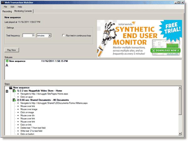Monitoring a Web transaction