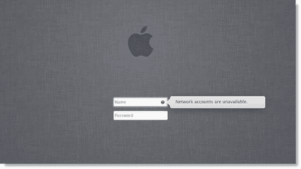 Network accounts are unavailable error in Mac OS X Lion