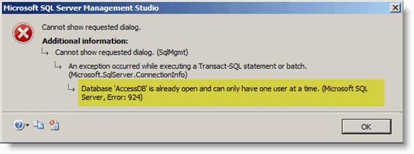 SQL Server Error 924