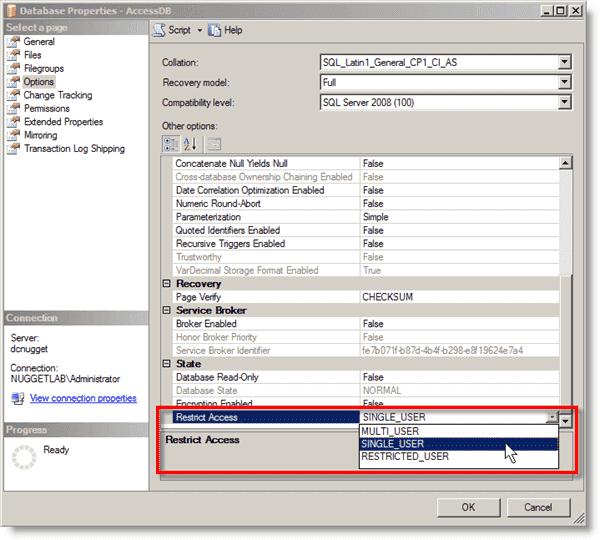 Setting single-user mode for SQL Server in SSMS