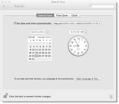 Synchronizing the Mac's clock with AD