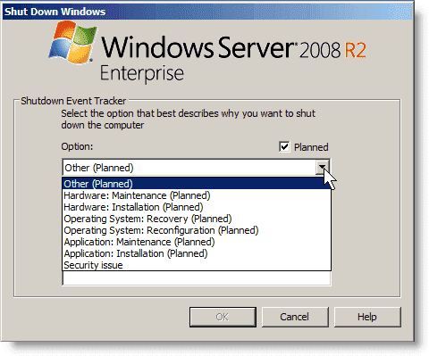 Disable Shutdown Event Tracker - Shutdown Event Tracker dialog