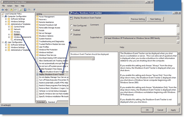 Disable Shutdown Event Tracker through Group Policy
