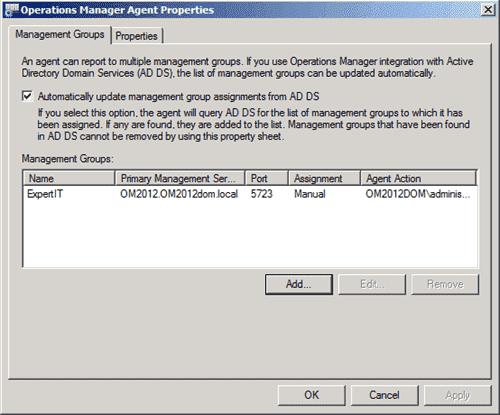 SCOM 2012 - Agent Control Panel Applet