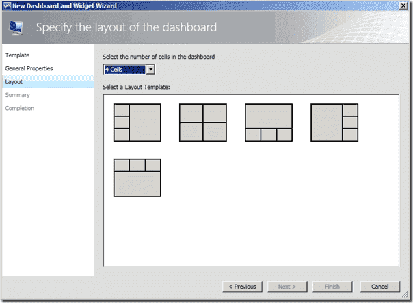 SCOM 2012 review - Dashboard Wizard Layout