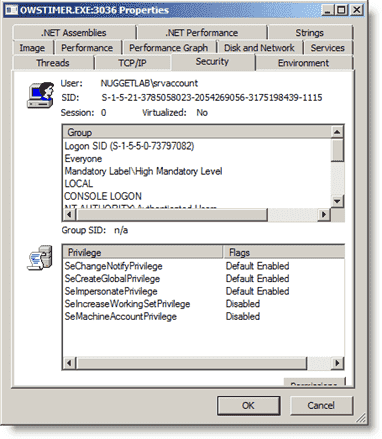 Sysinternals Process Explorer - System privileges service account