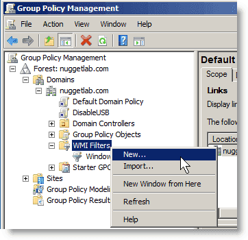 Group Policy - Creating a New WMI Filter