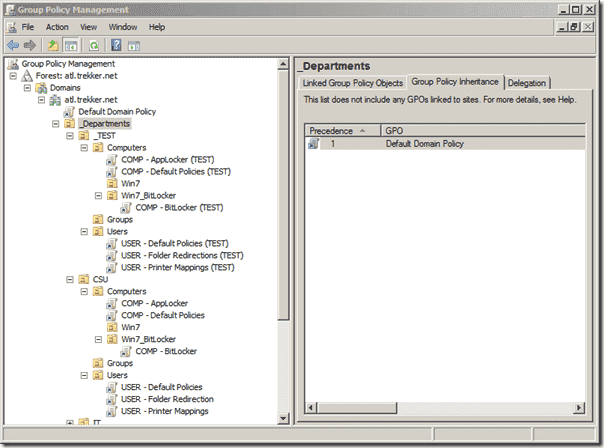 Test Group Policy - GPMC with Test GPOs