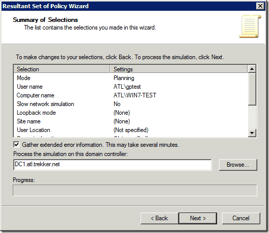 Test Group Policy - RSoP Wizard
