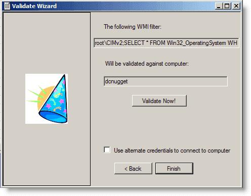 Validating a WMI filter