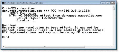 Windows time server - Monitoring NTP in Windows 7