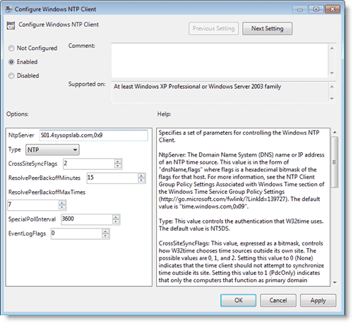 Windows time server - NTP client customization via Group Policy